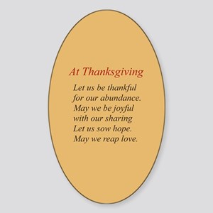 Thanksgiving Poem Oval Sticker