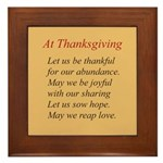 Thanksgiving Poem Framed Tile