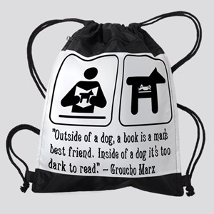 dog, book, mans best friend, quote, Drawstring Bag