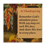 At Thanksgiving Poem Tile Coaster
