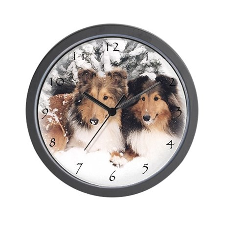 Snow Shelties Clock