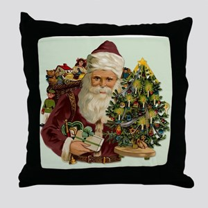Vintage Santa & Gifts Throw Pillow