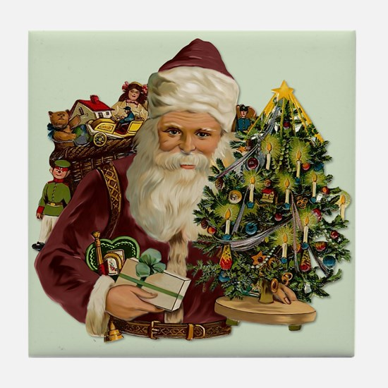 Vintage Santa & Gifts Tile Coaster