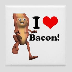 I Heart (Love) Bacon Tile Coaster