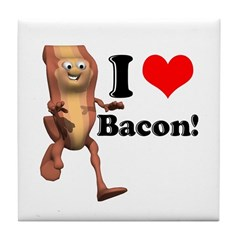 I Heart (Love) Bacon Tile Coaster