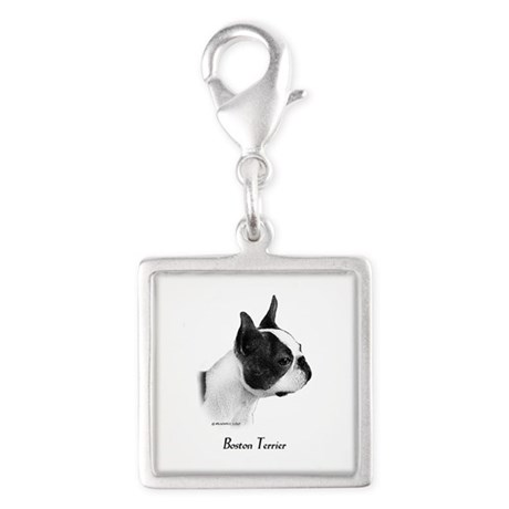 Boston Terrier Silver Square Charm