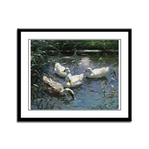 Floating Flock of Ducks Framed Panel Print