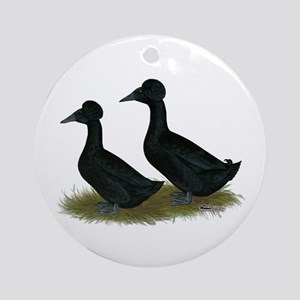 Crested Ducks Black Ornament (Round)