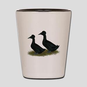Crested Ducks Black Shot Glass