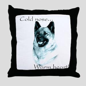 Elkhound Warm Heart Throw Pillow