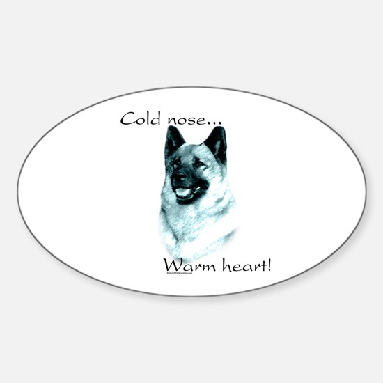 Elkhound Warm Heart Oval Decal
