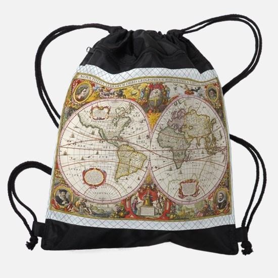 Antique World Map Drawstring Bag