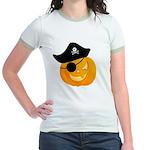 Pirate Jack o'lantern Jr. Ringer T-Shirt, Green