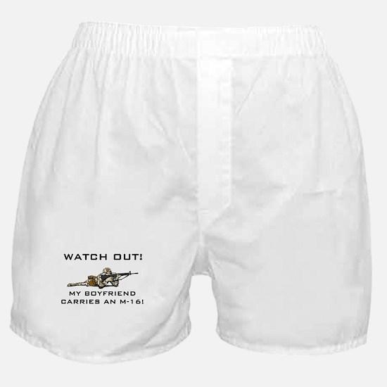 Military Boyfriend carries M-16 Boxer Shorts