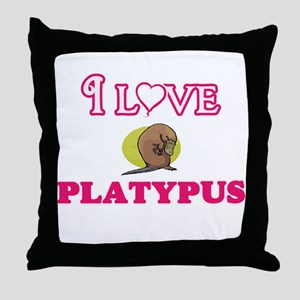 I Love Platypus Throw Pillow