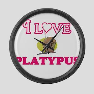 I Love Platypus Large Wall Clock