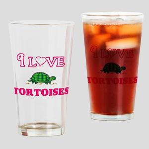 I Love Tortoises Drinking Glass