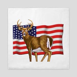 deerUSflag Queen Duvet
