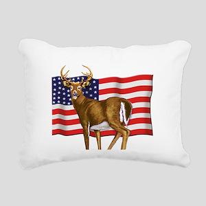 deerUSflag Rectangular Canvas Pillow