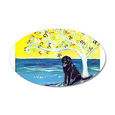 Black Labrador art deco tree ocean Wall Decal