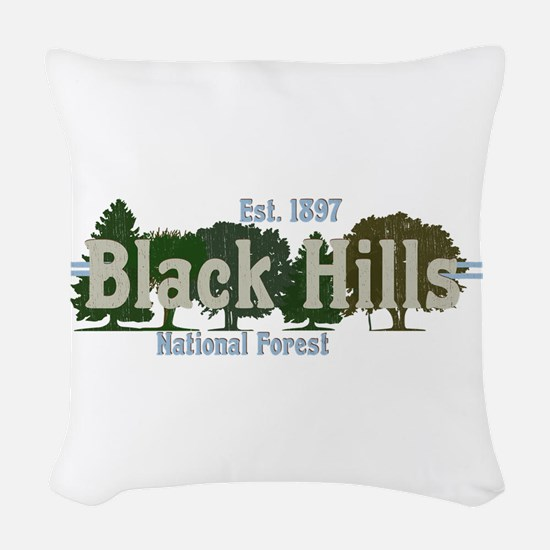 Vintage Black Hills National F Woven Throw Pillow