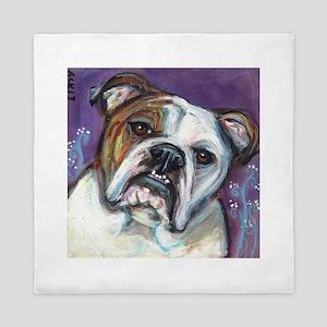 Portrait of an English Bulldog Queen Duvet