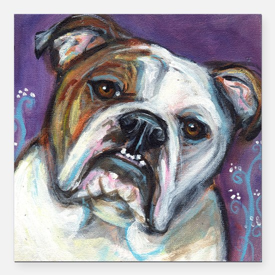 Portrait of an English Bulldog Square Car Magnet 3
