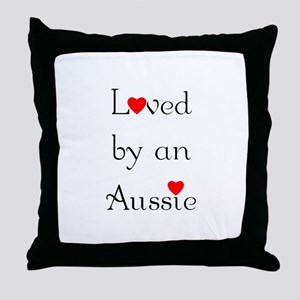Loved by an Aussie Throw Pillow