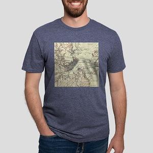 Vintage Map of Portland Mai Mens Tri-blend T-Shirt