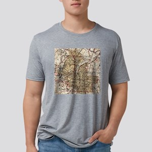Vintage Map of Raleigh Nort Mens Tri-blend T-Shirt