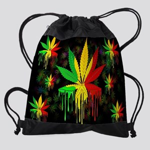 Marijuana Leaf Rasta Colors Drippin Drawstring Bag