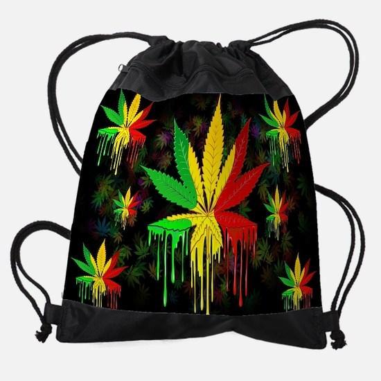Marijuana Leaf Rasta Colors Drippin Drawstring Bag