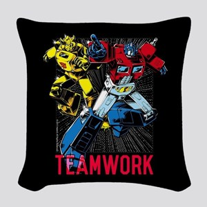 Transformers Teamwork Woven Throw Pillow