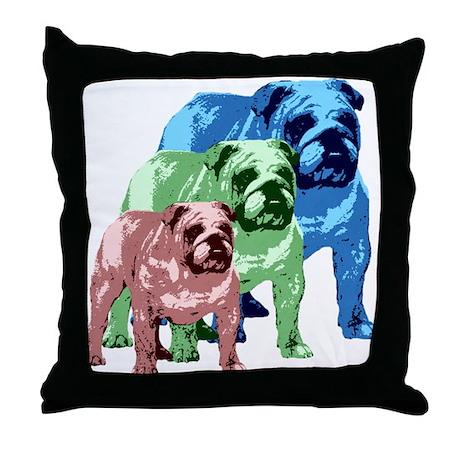 3 Color Bulldogs Design Throw Pillow