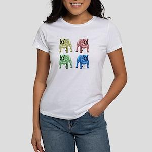 4 Color Bulldog Design Women's T-Shirt