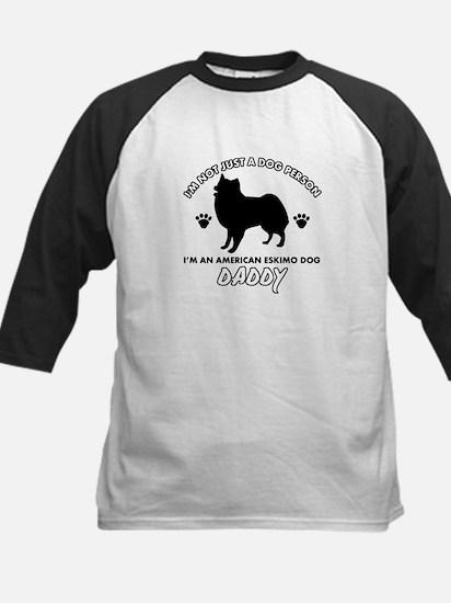 American Eskimo Dog Daddy designs Kids Baseball Je