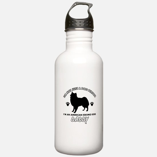 American Eskimo Dog Daddy designs Sports Water Bottle