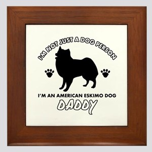 American Eskimo Dog Daddy designs Framed Tile