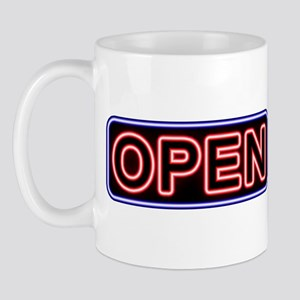 Neon Open (Black Back, Thick Letters) Mug