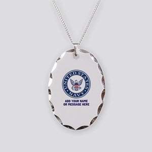 US Navy Symbol Personalized Necklace Oval Charm