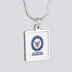 US Navy Symbol Personalize Silver Square Necklace