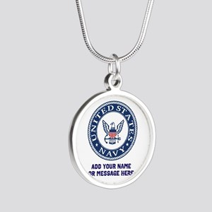 US Navy Symbol Personalized Silver Round Necklace