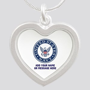 US Navy Symbol Personalized Silver Heart Necklace