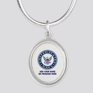 US Navy Symbol Personalized Silver Oval Necklace