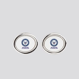 US Navy Symbol Personalized Oval Cufflinks