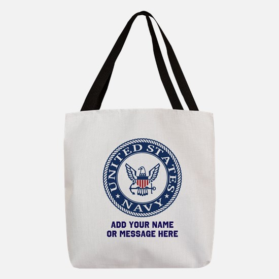 US Navy Symbol Personalized Polyester Tote Bag