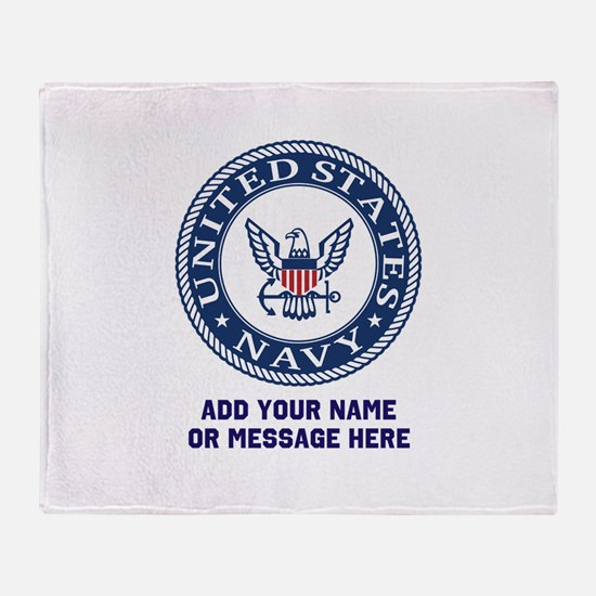 US Navy Symbol Personalized Throw Blanket