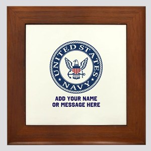 US Navy Symbol Personalized Framed Tile