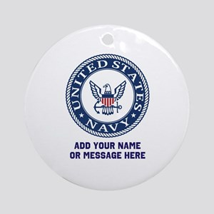 US Navy Symbol Personalized Round Ornament