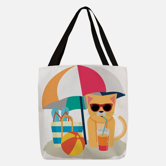 Cute Cool Cat at the beach Polyester Tote Bag